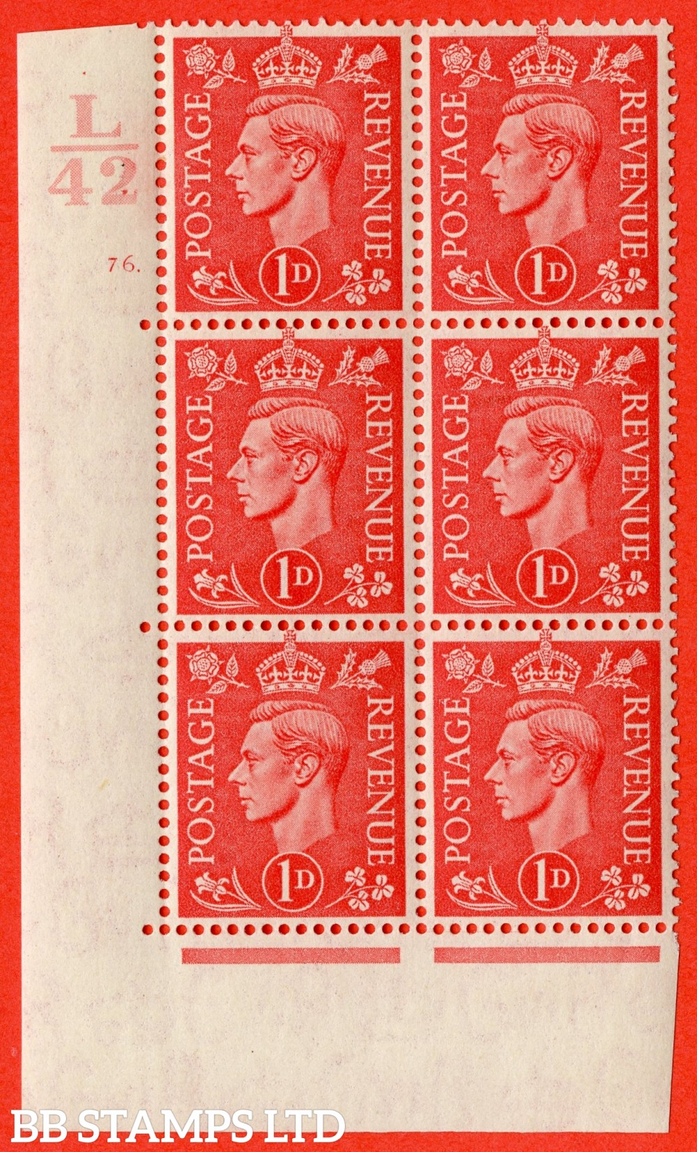 "SG. 486. Q5. 1d Pale scarlet. A fine lightly mounted mint "" Control L42  cylinder 76 dot "" control block of 6 with perf type 5 E/I."