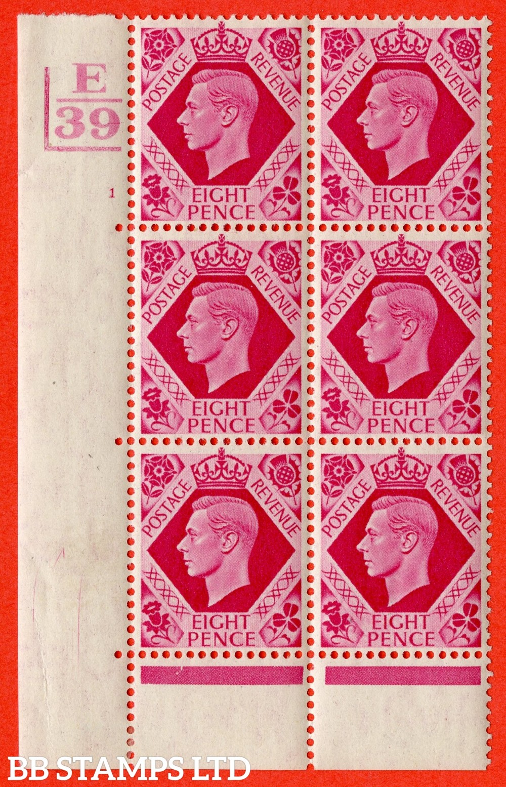 "SG. 472. Q24. 8d Carmine. A fine lightly mounted mint "" Control E39 2 Bars. Cylinder 1 no dot "" control block of 6 with perf type 6B E/P"