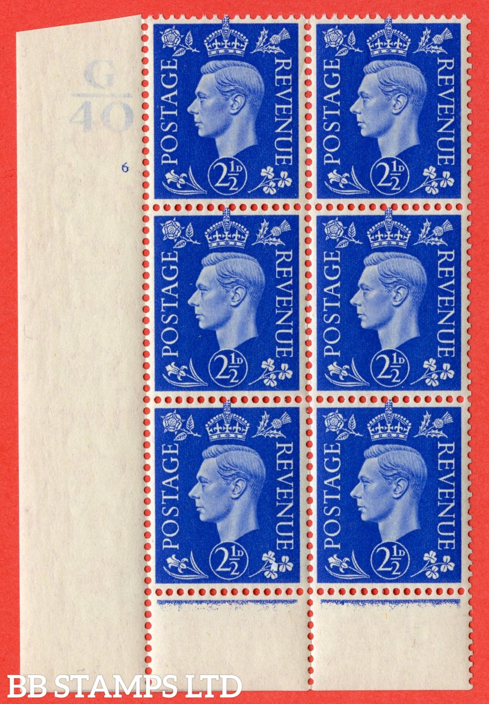 "SG. 466. Q13. 2½d Ultramarine.  A superb UNMOUNTED MINT "" Control G40 cylinder 6 (i) no dot "" control block of 6 with perf type 6 I/P."