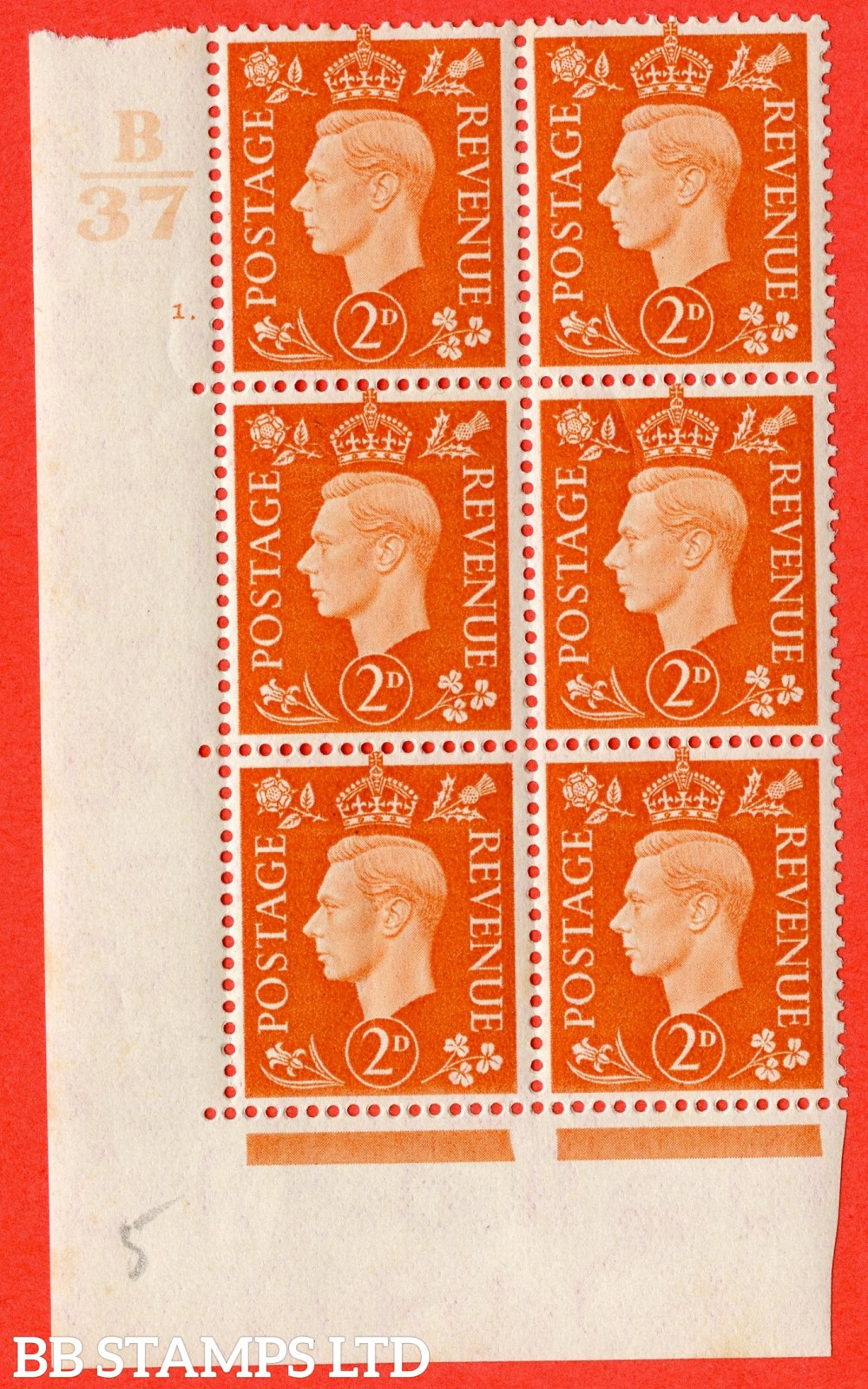 "SG. 465. Q10. 2d Orange. A fine lightly mounted mint "" Control B37 cylinder 1 dot "" control block of 6 with perf type 5 E/I."
