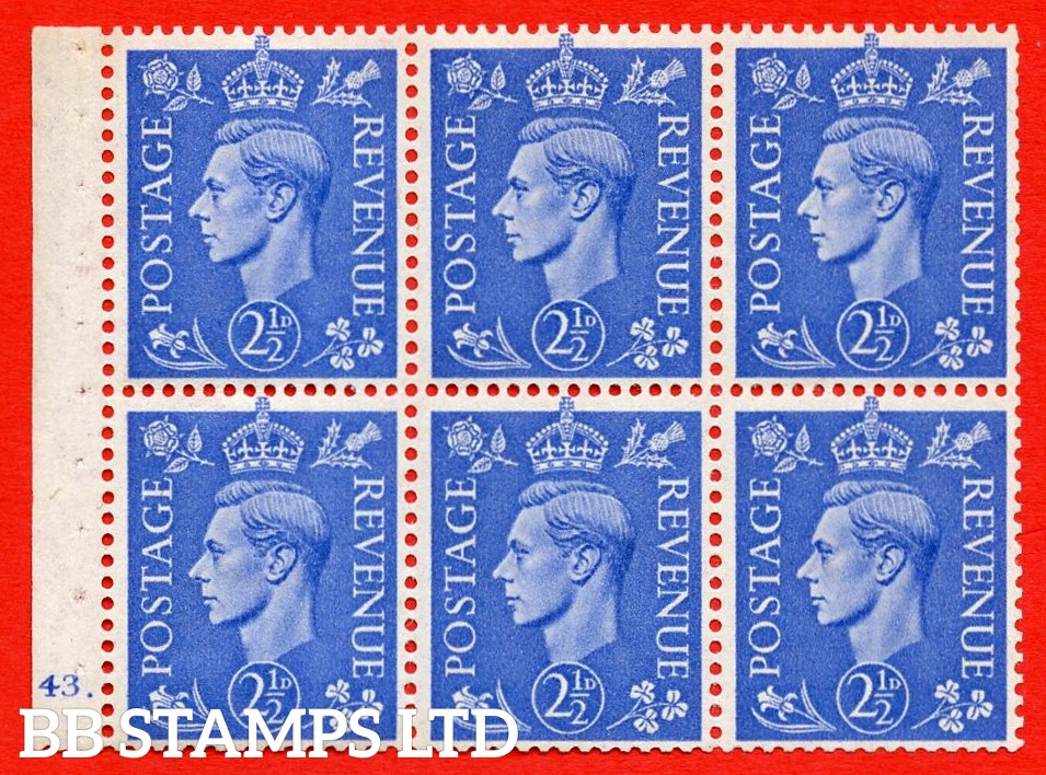 """SG. 489f. QB33. 2½d blue. A fine UNMOUNTED MINT complete Cylinder pane of 6 J43 dot. Perf type """"B6(IE)"""". Good Perfs."""