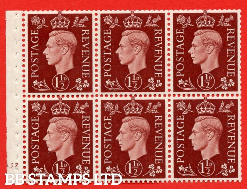 QB21 Perf Type B3(I) 1½d Red-Brown x 6 Pane, MOUNTED MINT Watermark Upright. Cylinder Pane G57 no dot ( SG. 464c ) Perf type B3(I). Good Perfs.