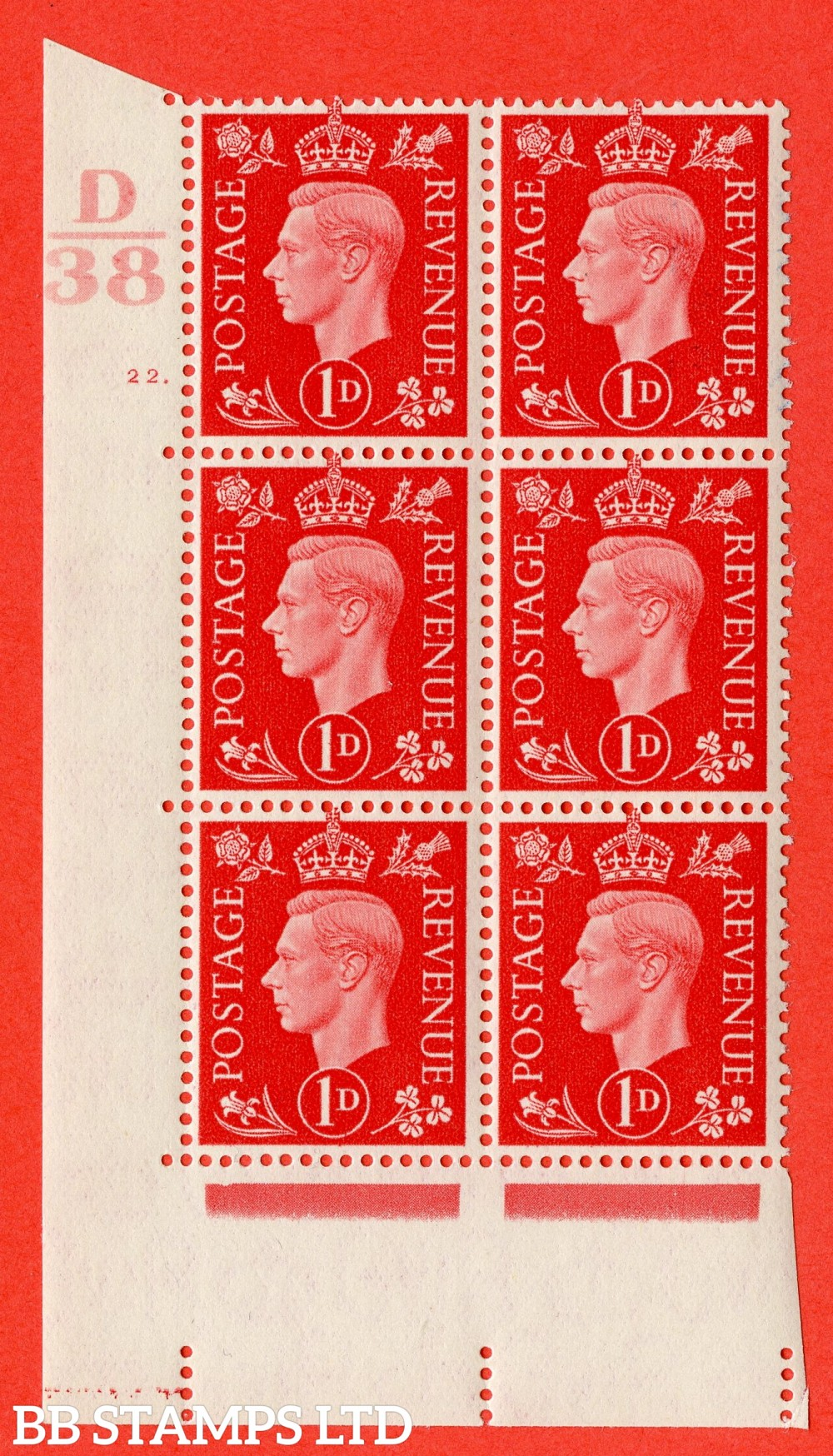 "SG. 463. Q4. 1d Scarlet. A superb UNMOUNTED MINT "" Control D38 cylinder 22 dot "" block of 6 with perf type 5 E/I."