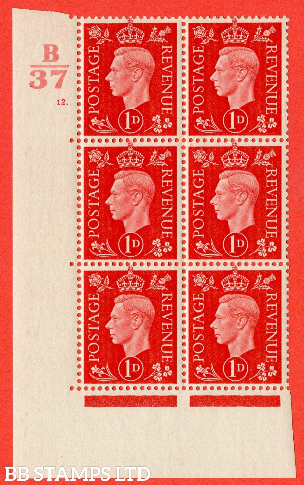 "SG. 463. Q4. 1d Scarlet. A fine lightly mounted mint "" Control B37 cylinder 12 dot "" block of 6 with perf type 5 E/I."