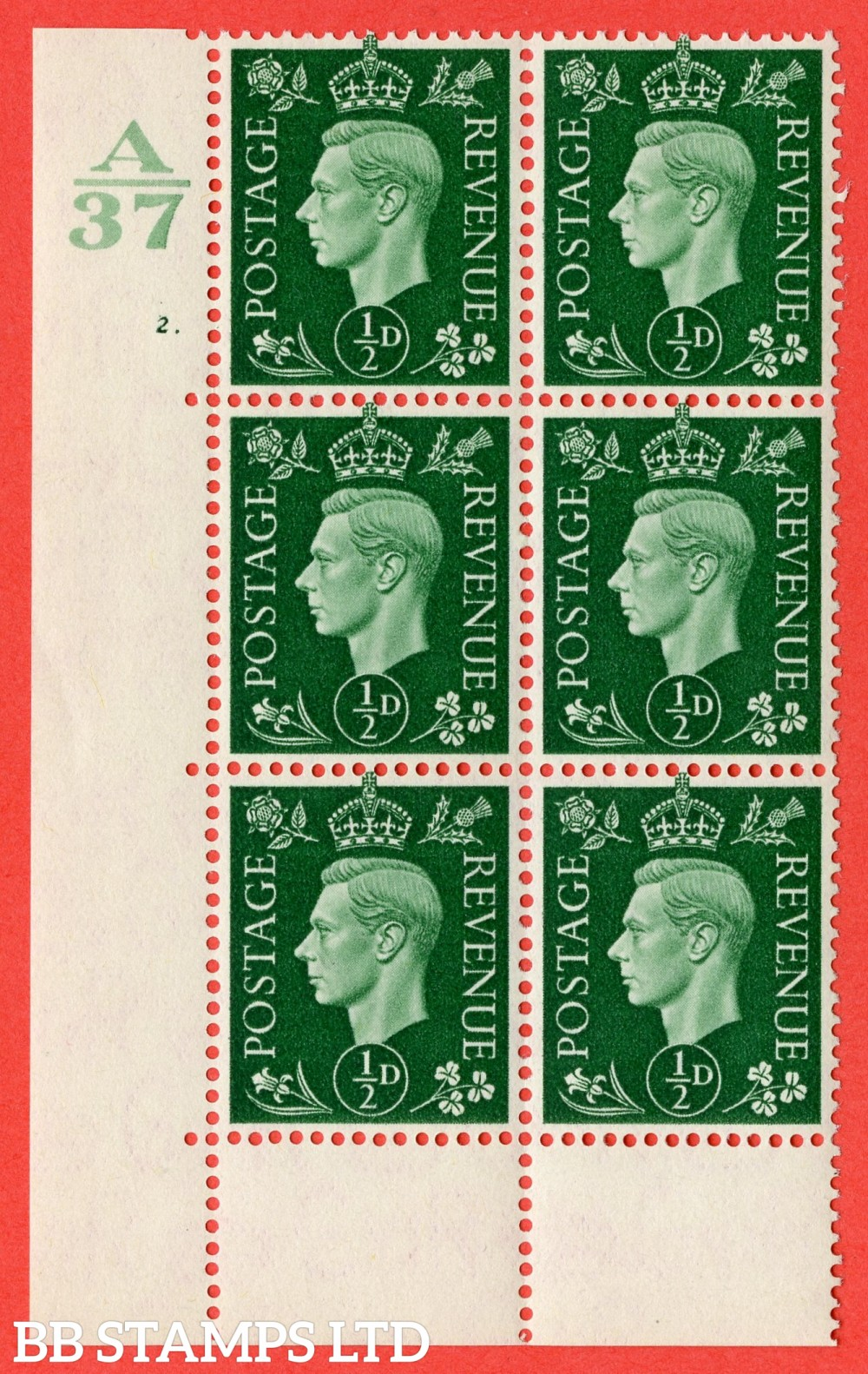 "SG. 462. Q1. ½d Green. A superb UNMOUNTED MINT "" Control A37 cylinder 2 dot "" block of 6 with perf type 6B E/P without marginal rule."