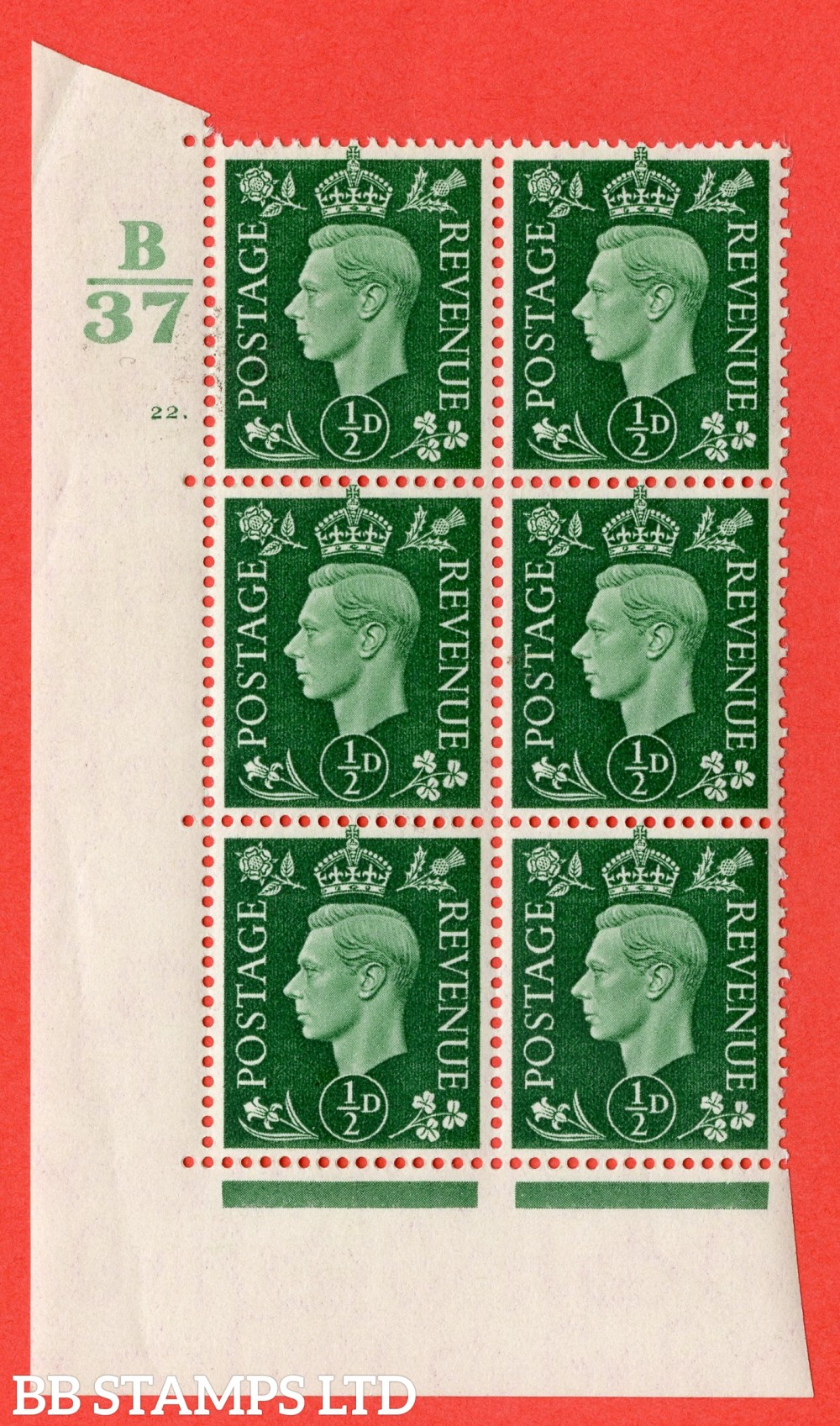 "SG. 462. Q1. ½d Green. A superb UNMOUNTED MINT "" Control B37 cylinder 22 dot "" block of 6 with perf type 5 E/I."