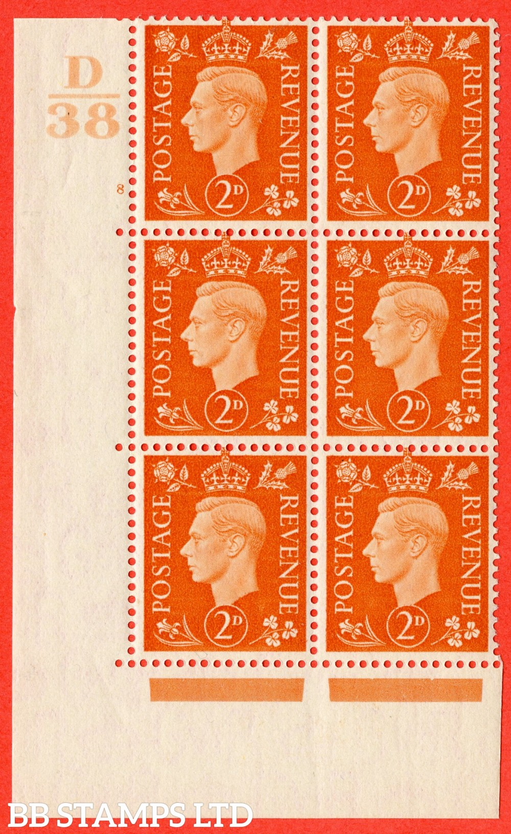 "SG. 465. Q10. 2d Orange. A superb UNMOUNTED MINT"" Control D38 cylinder 8 no dot "" control block of 6 with perf type 5 E/I."