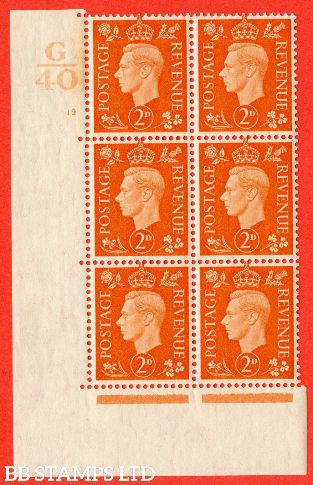 "SG. 465. Q10. 2d Orange. A fine lightly mounted mint "" Control G40 cylinder 12 no dot "" control block of 6 with perf type 5 E/I."