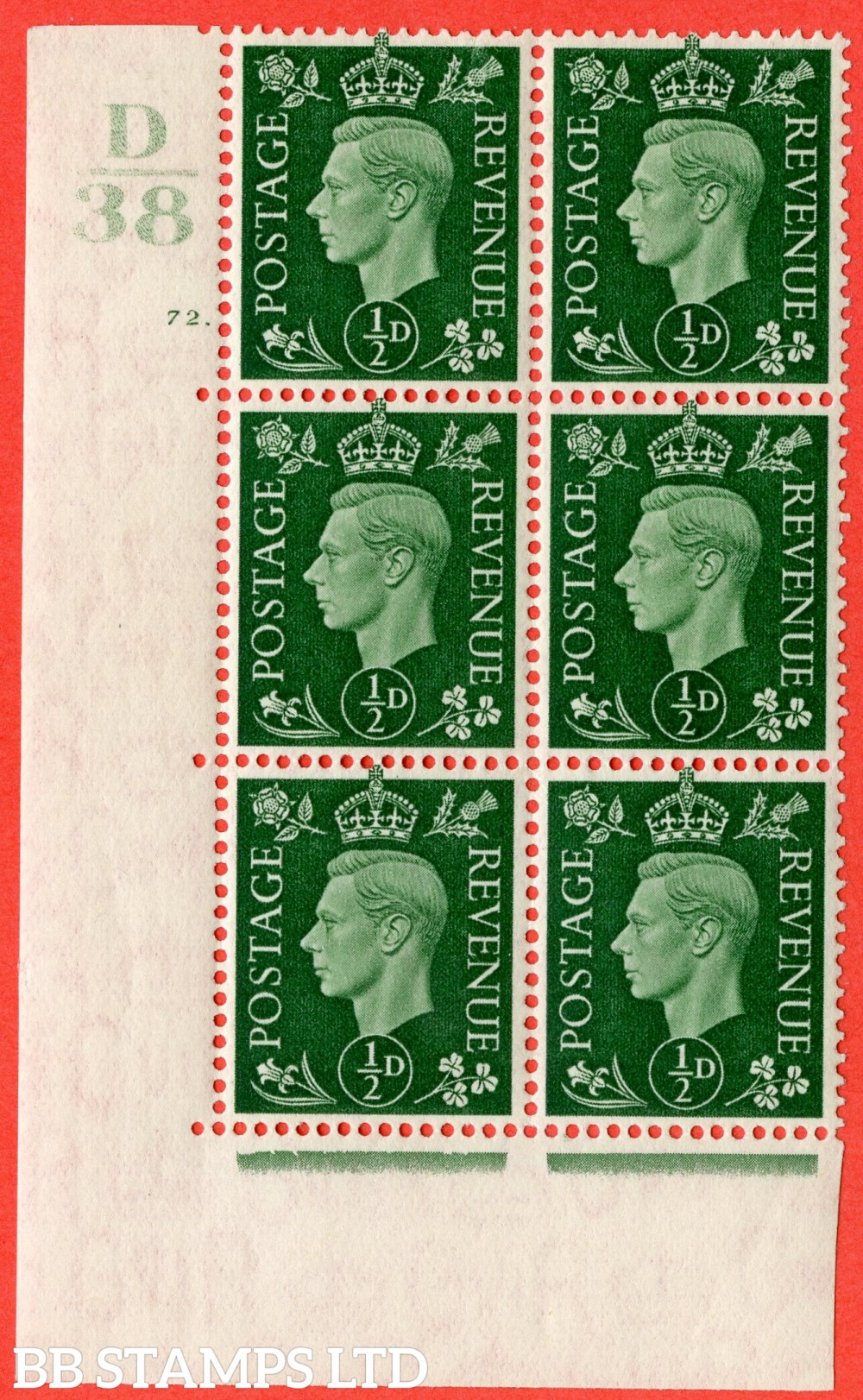 "SG. 462. Q1. ½d Green. A superb UNMOUNTED MINT "" Control D38 cylinder 72 (i) dot "" block of 6 with perf type 5 E/I."