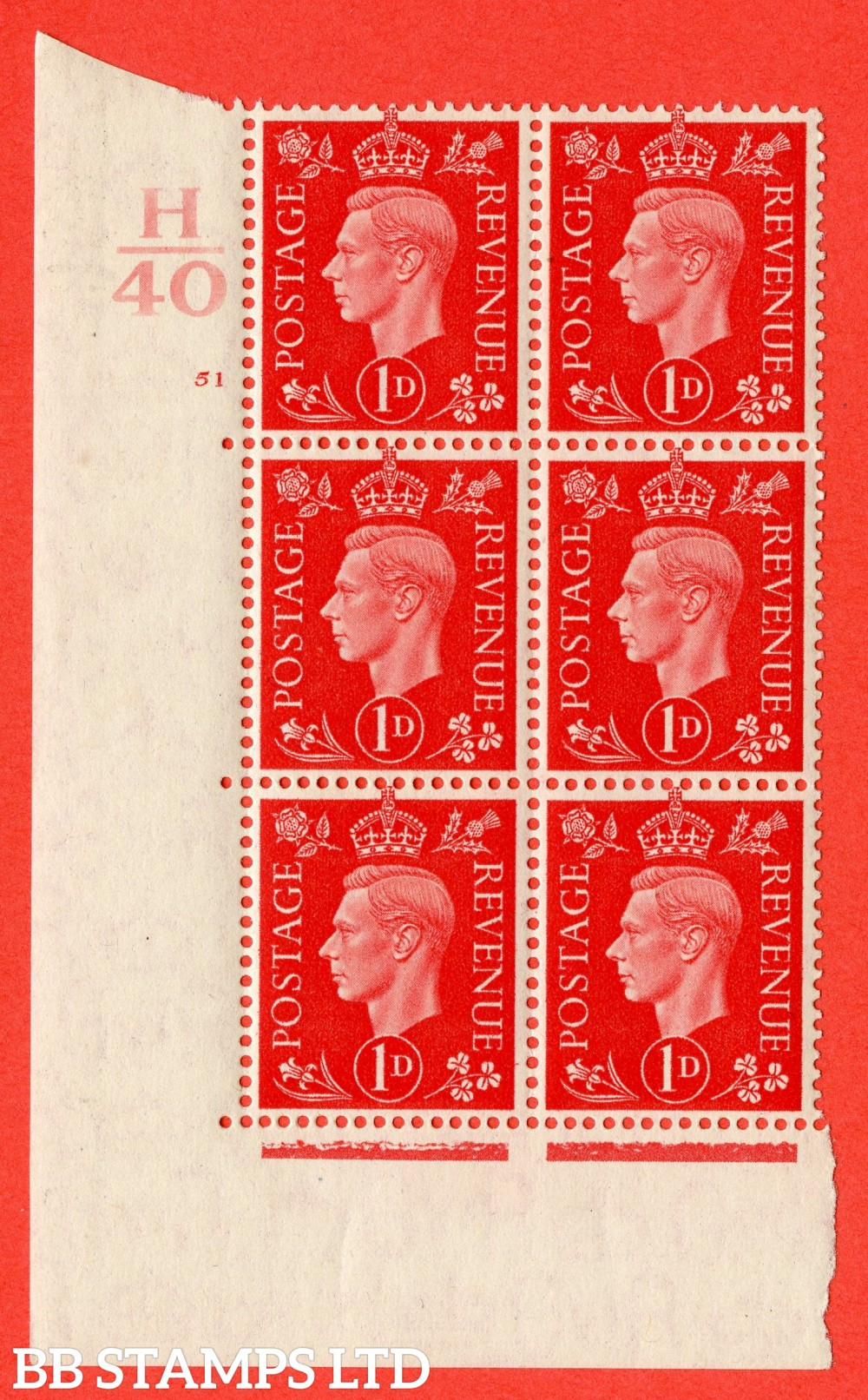 "SG. 463. Q4. 1d Scarlet. A superb UNMOUNTED MINT "" Control H40 cylinder 51 no dot "" block of 6 with perf type 5 E/I."