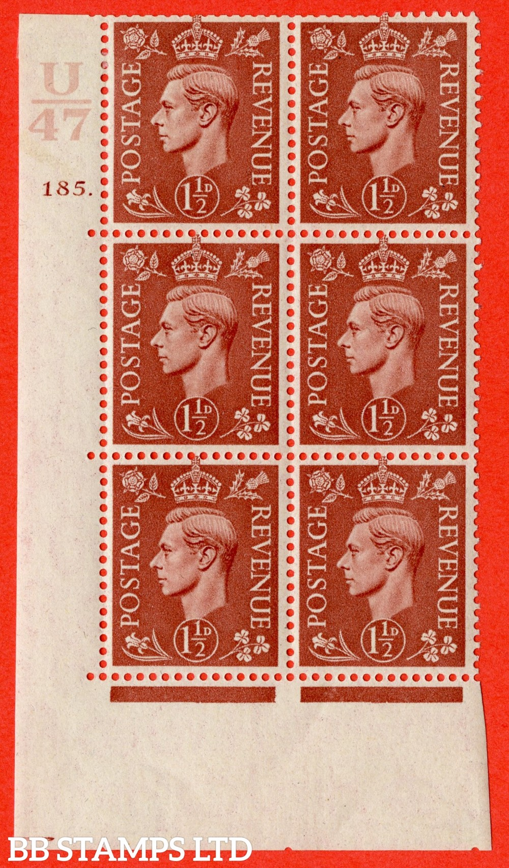"SG. 487. Q8. 1½d Pale Red-Brown. A fine lightly mounted mint "" Control U47 cylinder 185 dot "" control block of 6 with perf type 5 E/I."