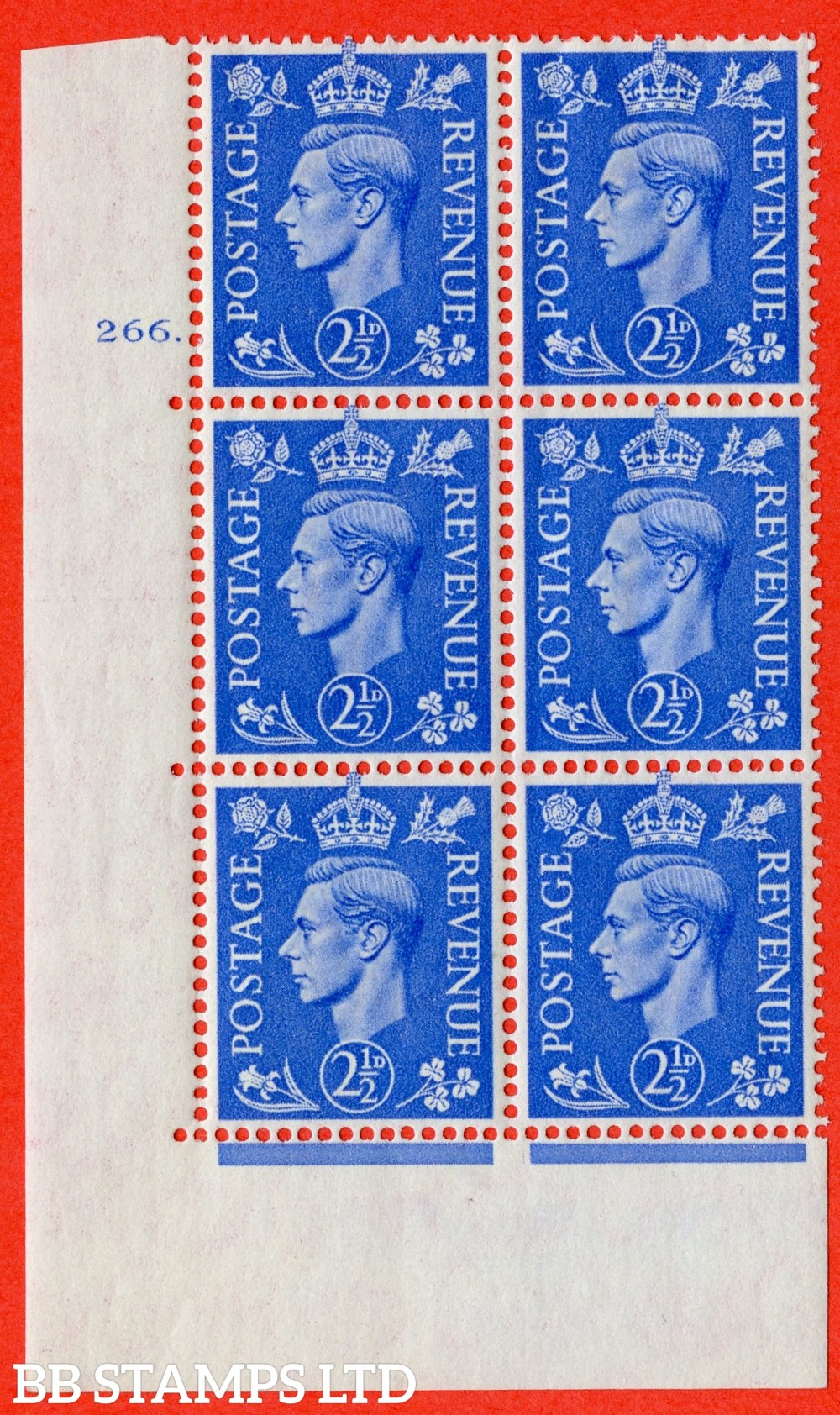 "SG. 489. Q14. 2½d Light ultramarine. A superb UNMOUNTED MINT "" No Control cylinder 266 dot "" control block of 6 with perf type 5 E/I"