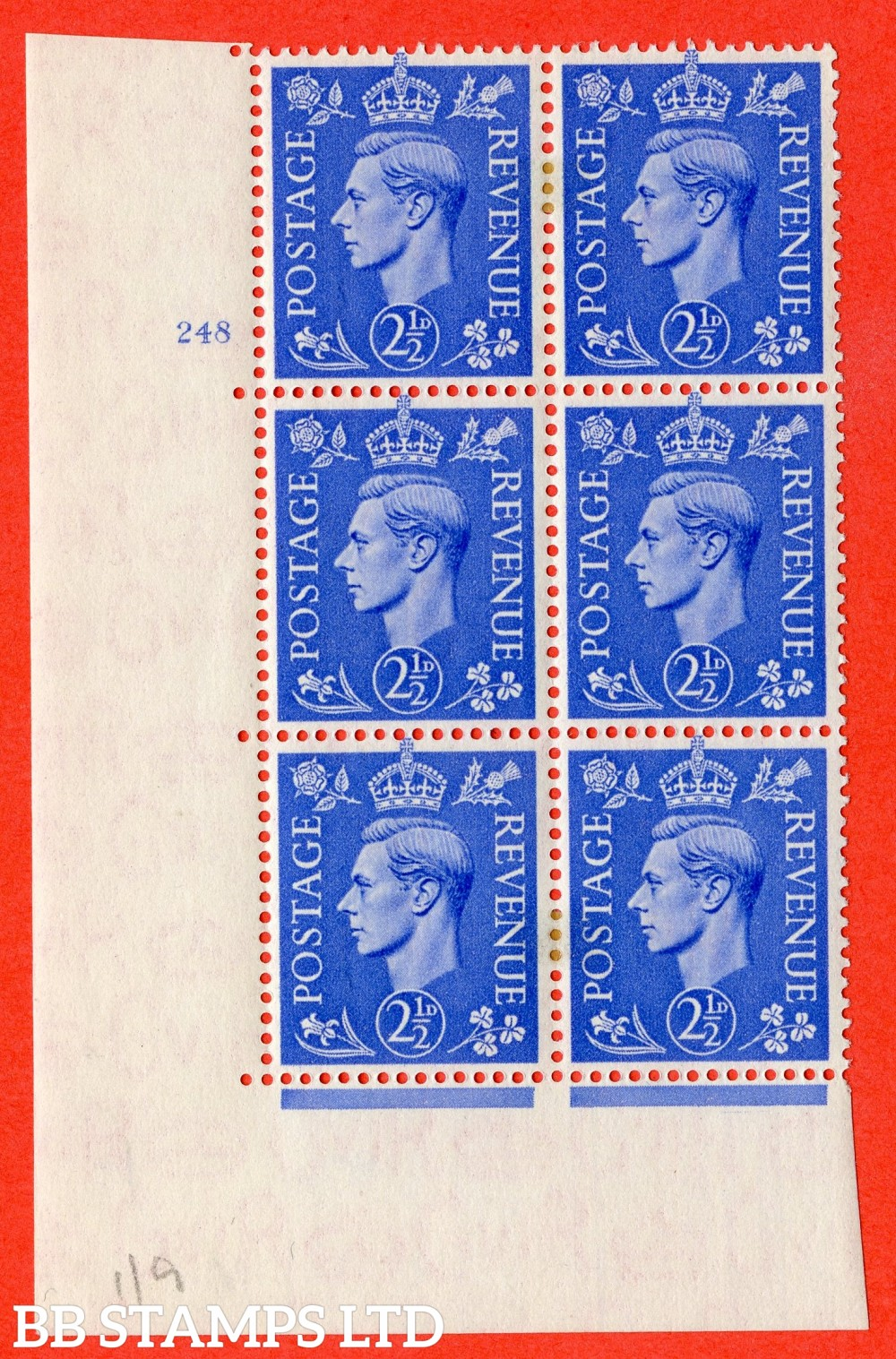 "SG. 489. Q14. 2½d Light ultramarine. A superb UNMOUNTED MINT "" No Control cylinder 248 no dot "" control block of 6 with perf type 5 E/I"