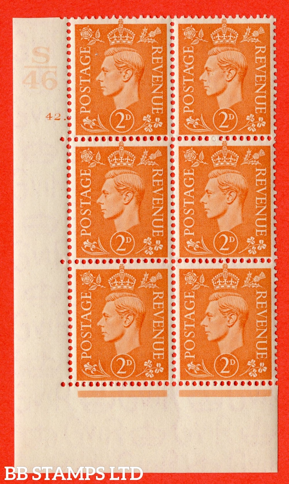 """SG. 488. Q11. 2d Pale Orange. A superb UNMOUNTED MINT """" Control S46 cylinder 42 dot """" control block of 6 with perf type 5 E/I."""