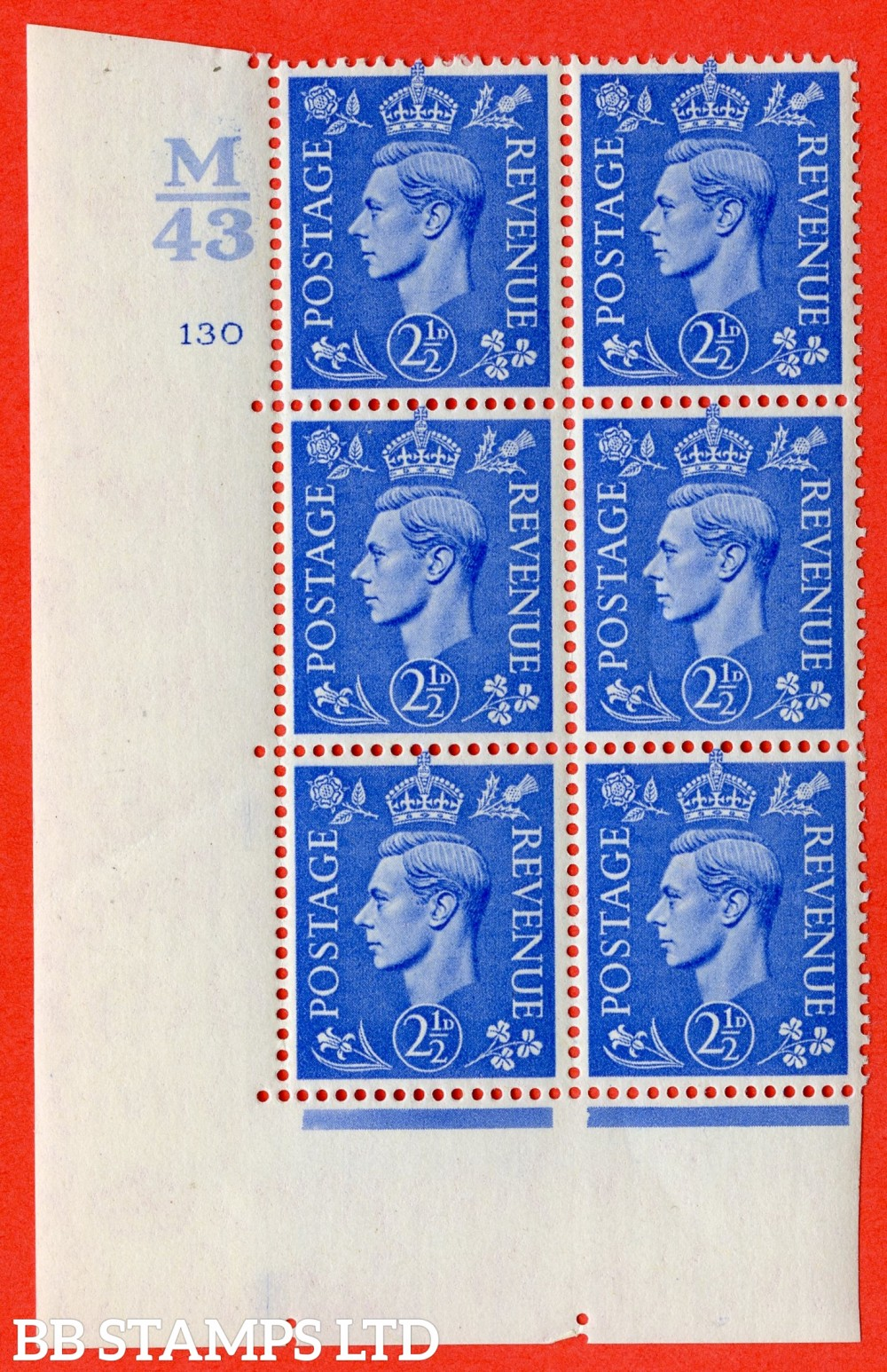 "SG. 489. Q14. 2½d Light ultramarine. A fine mounted mint "" Control M43 cylinder 130 no dot "" control block of 6 with perf type 5 E/I."