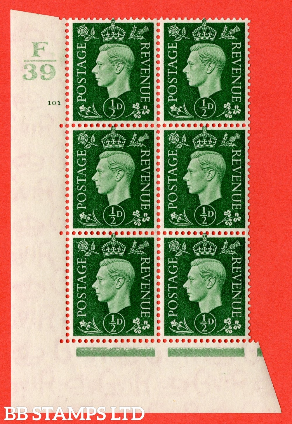 "SG. 462. Q1. ½d Green. A superb UNMOUNTED MINT "" Control F39 cylinder 101 no dot "" block of 6 with perf type 5 E/I with marginal rule."