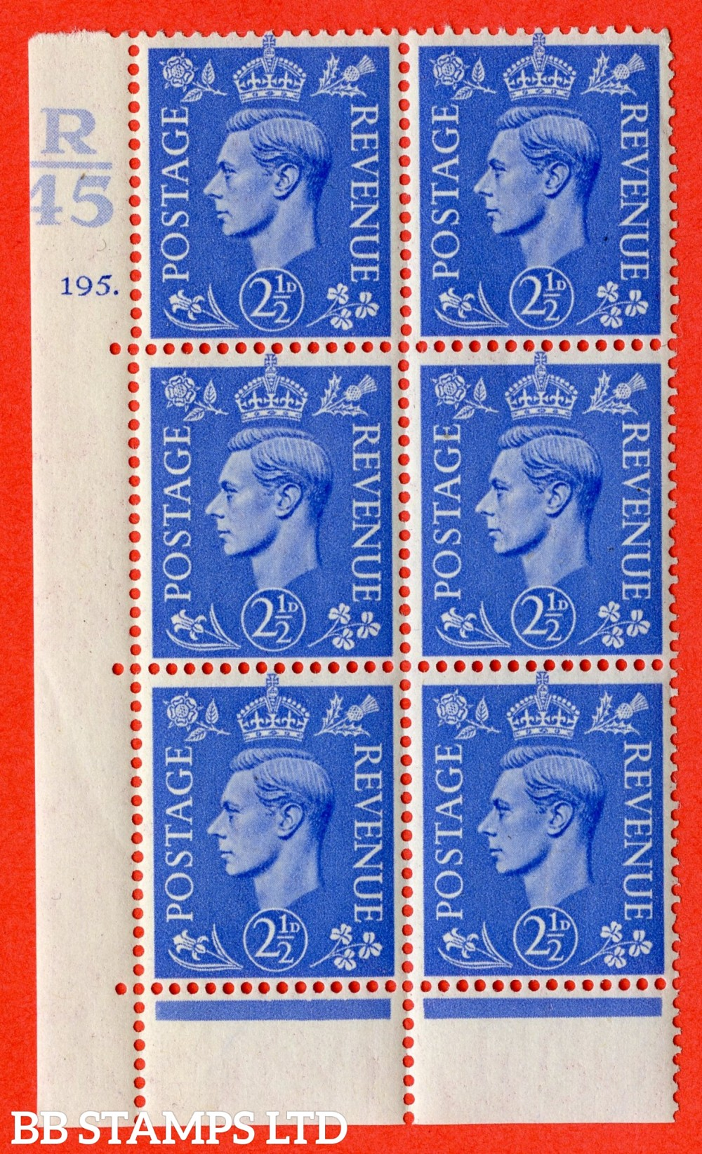 "SG. 489. Q14. 2½d Light ultramarine. A superb UNMOUNTED MINT "" Control R45 cylinder 195 (i) dot "" control block of 6 with perf type 6B E/P."