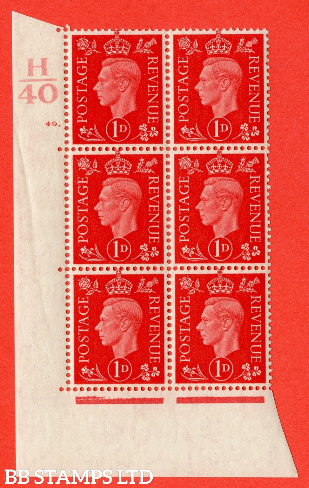 "SG. 463. Q4. 1d Scarlet. A superb UNMOUNTED MINT "" Control H40 cylinder 49 dot "" block of 6 with perf type 5 E/I with marginal rule."