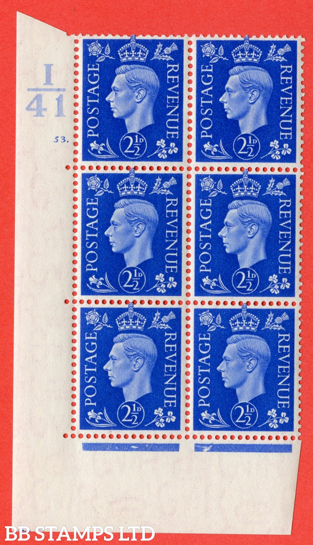 """SG. 466. d. Q13. 2½d Ultramarine.  A superb UNMOUNTED MINT """" Control I41 cylinder 53 dot """" control block of 6 with perf type 5 E/I."""