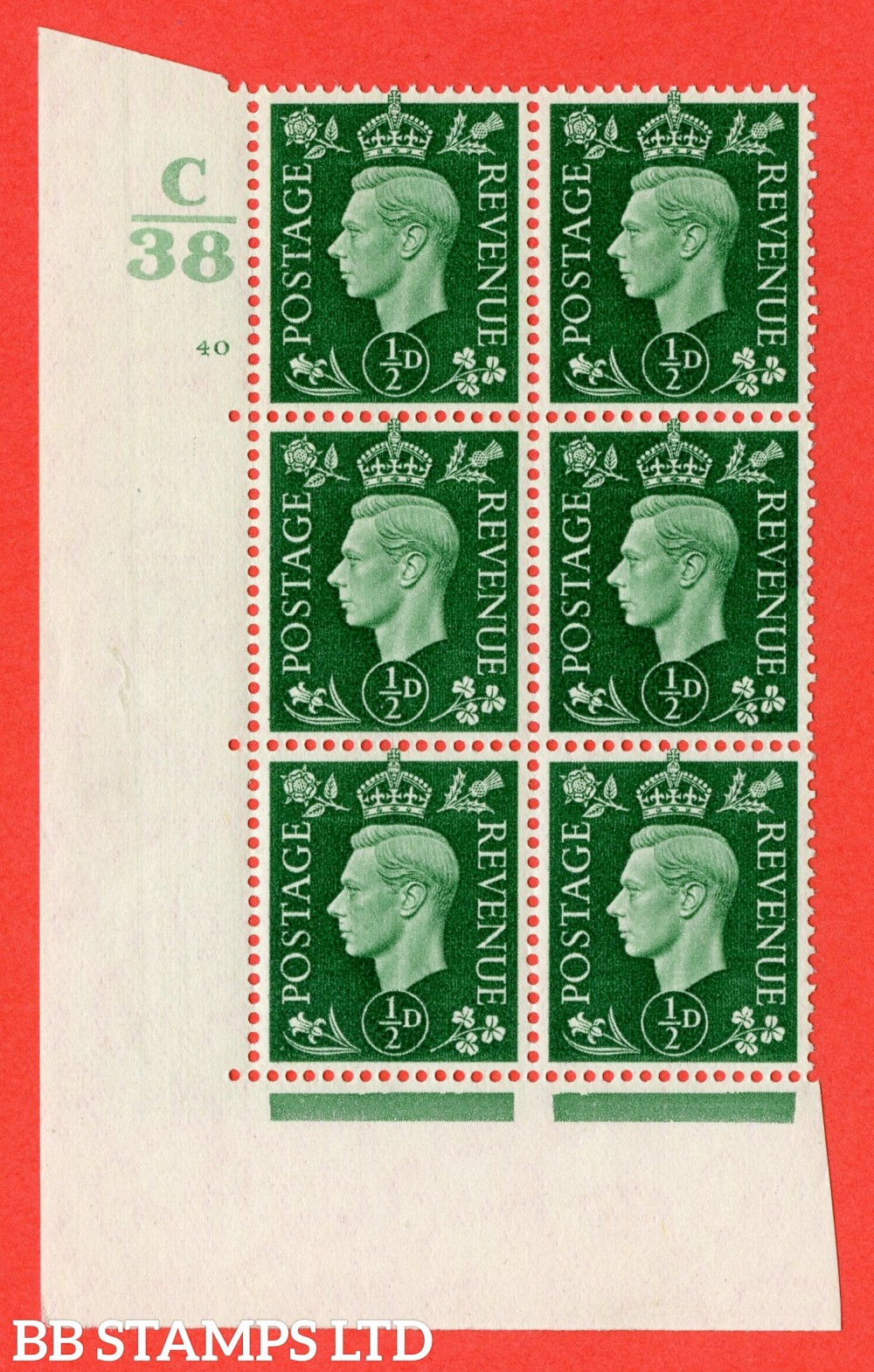 """SG. 462. Q1. ½d Green. A fine UNMOUNTED MINT """" Control C38 cylinder 40 no dot """" block of 6 with perf type 5 E/I with marginal rule."""