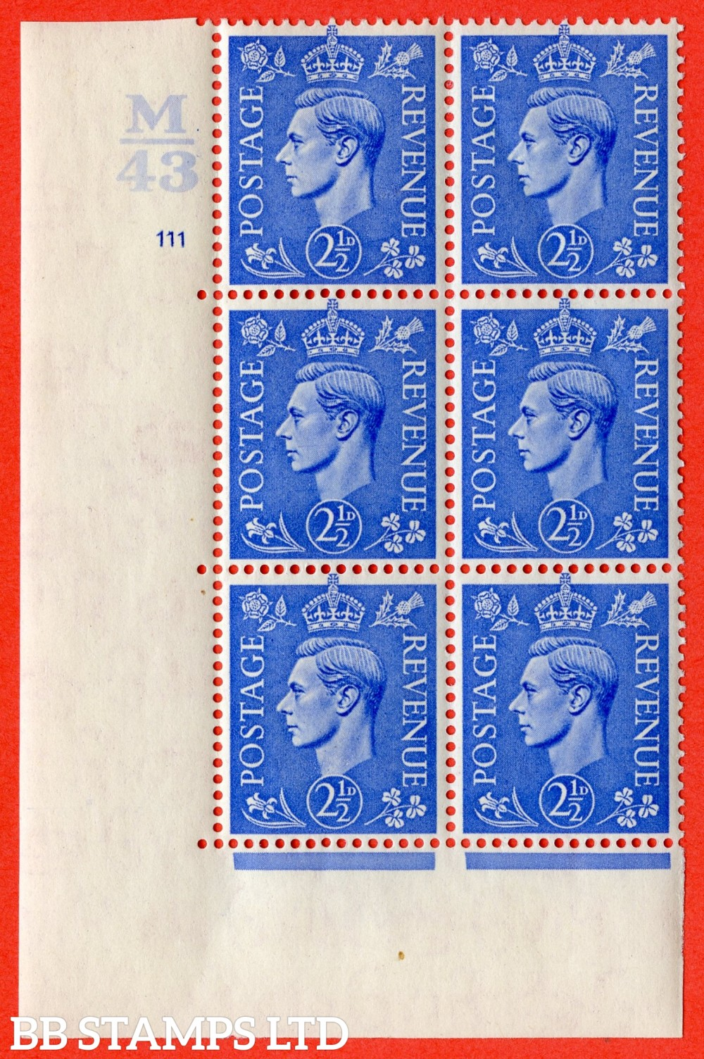 "SG. 489. Q14. 2½d Light ultramarine. A fine lightly mounted mint "" Control M43 cylinder 111 no dot "" control block of 6 with perf type 5 E/I."