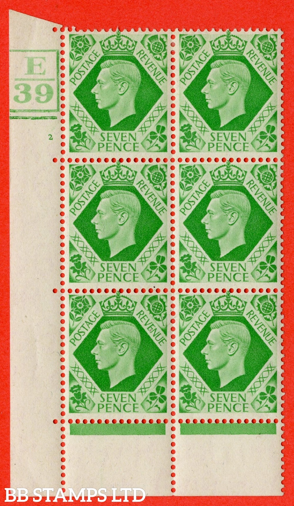 """SG. 471. Q23. 7d Emerald-Green. A fine lightly mounted mint """" Control E39. Box & Bar. Cylinder 2 no dot """" control block of 6 with perf type 6B E/P."""