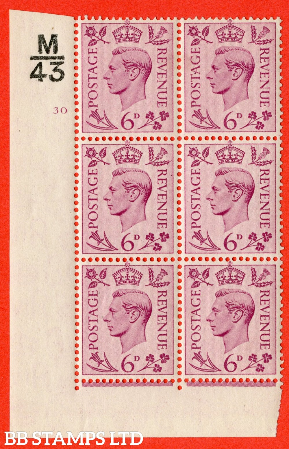 """SG. 470. Q22. 6d Purple. A fine lightly mounted mint """" Control M43 cylinder 30 no dot """" control block of 6 with perf type 2 E/I."""