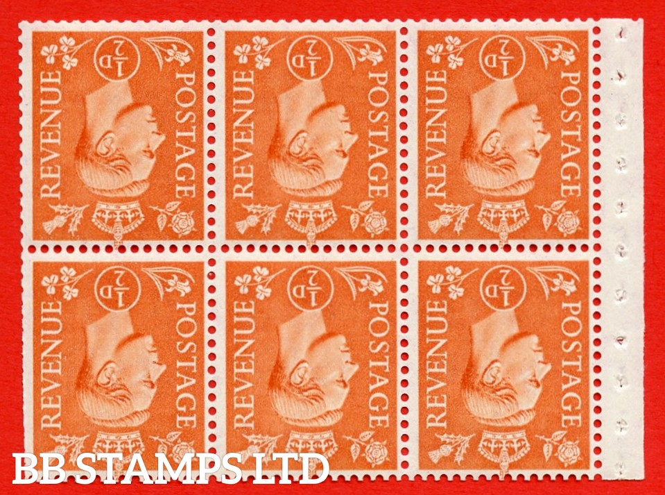 """SG. 503dw. QB7a. ½d orange. A fine MOUNTED MINT. INVERTED WATERMARK. complete booklet pane of 6. Perf type """" Ieb """". Trimmed Perfs."""