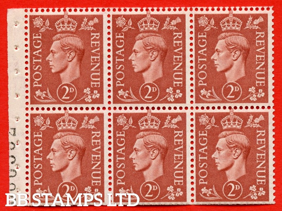 """SG. 506d. QB31. 2d pale red brown. A superb UNMOUNTED MINT complete booklet pane. Perf type """" I """". Trimmed Perfs."""
