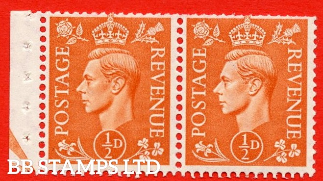 """SG. 503. QB9. ½d orange. A fine UNMOUNTED MINT complete booklet pane of 2. Perf type """" E (½V) """". Arrow at the bottom. Trimmed Perfs."""