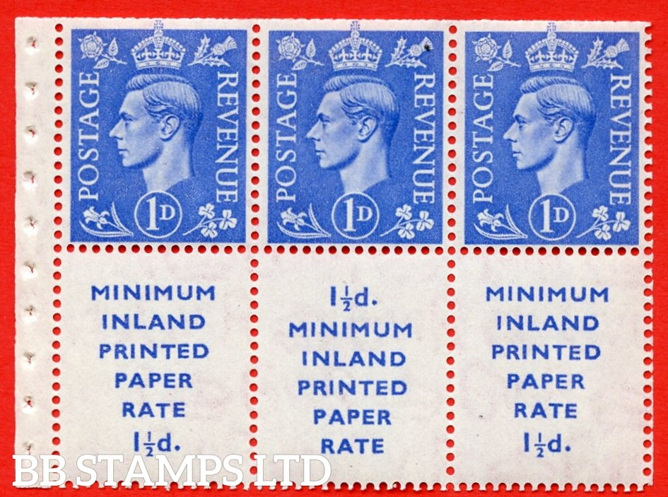 """SG. 504d. QB18. 1d ultramarine. A fine UNMOUNTED MINT example with """" MINIMUM INLAND PRINTED PAPER RATE """" 17 mm high. Perf type """" I """". Trimmed Perf."""