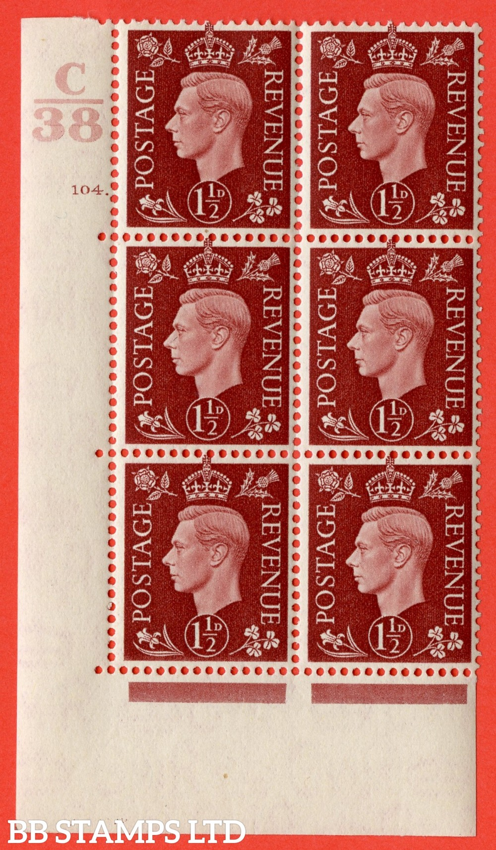 """SG. 464. Q7. 1½d Red-Brown. A superb UNMOUNTED MINT """" Control C38 cylinder 104 dot """" control block of 6 with perf type 5 E/I. with marginal rule."""