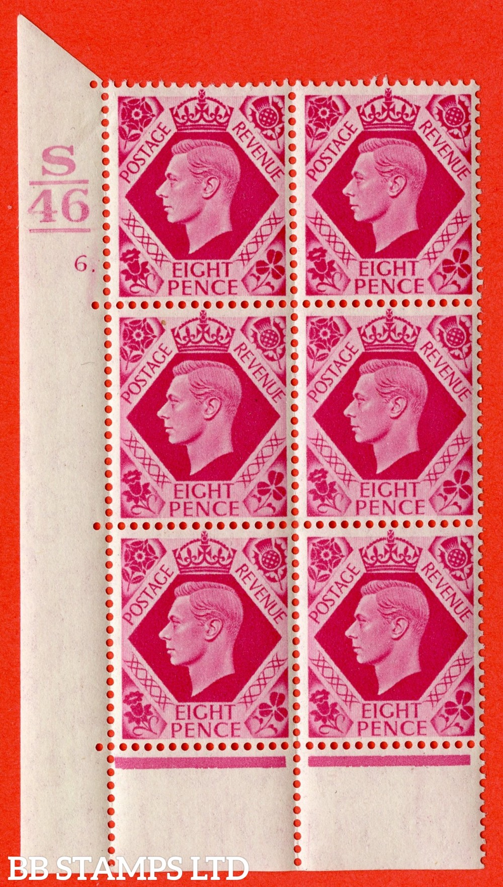 "SG. 472. Q24. 8d Carmine. A fine lightly mounted mint "" Control S46. 1 Bar. Cylinder 6 dot "" control block of 6 with perf type 6B E/P."