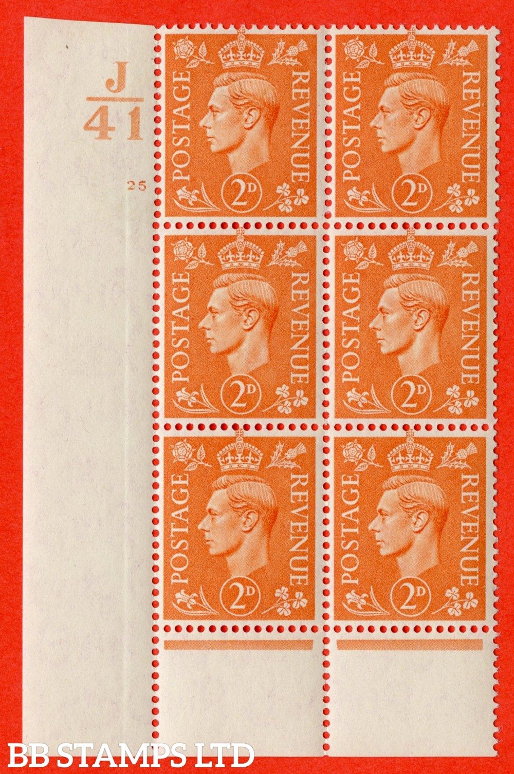 """SG. 488. Q11. 2d Pale Orange. A superb UNMOUNTED MINT """" Control J41 cylinder 25 no dot """" control block of 6 with perf type 6 I/P."""