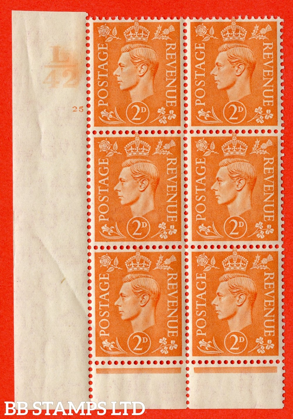 """SG. 488. Q11. 2d Pale Orange. A superb UNMOUNTED MINT """" Control L42 cylinder 25 no dot """" control block of 6 with perf type 6 I/P."""