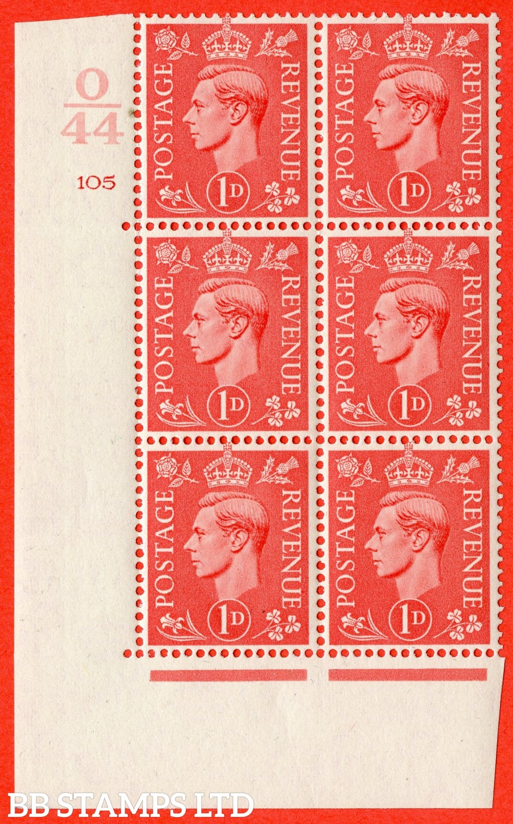 "SG. 486. Q5. 1d Pale scarlet. A fine lightly mounted mint "" Control O44  cylinder 105 no dot "" control block of 6 with perf type 5 E/I."