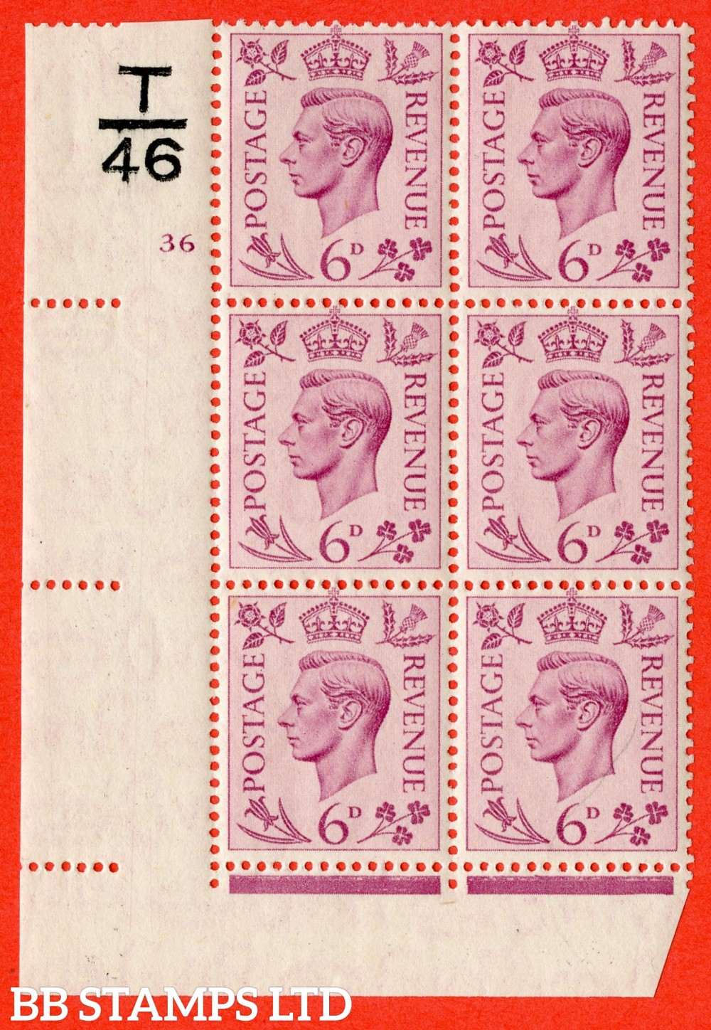 """SG. 470. Q22. 6d Purple. A fijne lightly mounted mint """" Control T46 cylinder 36 no dot """" control block of 6 with perf type 2 E/I."""