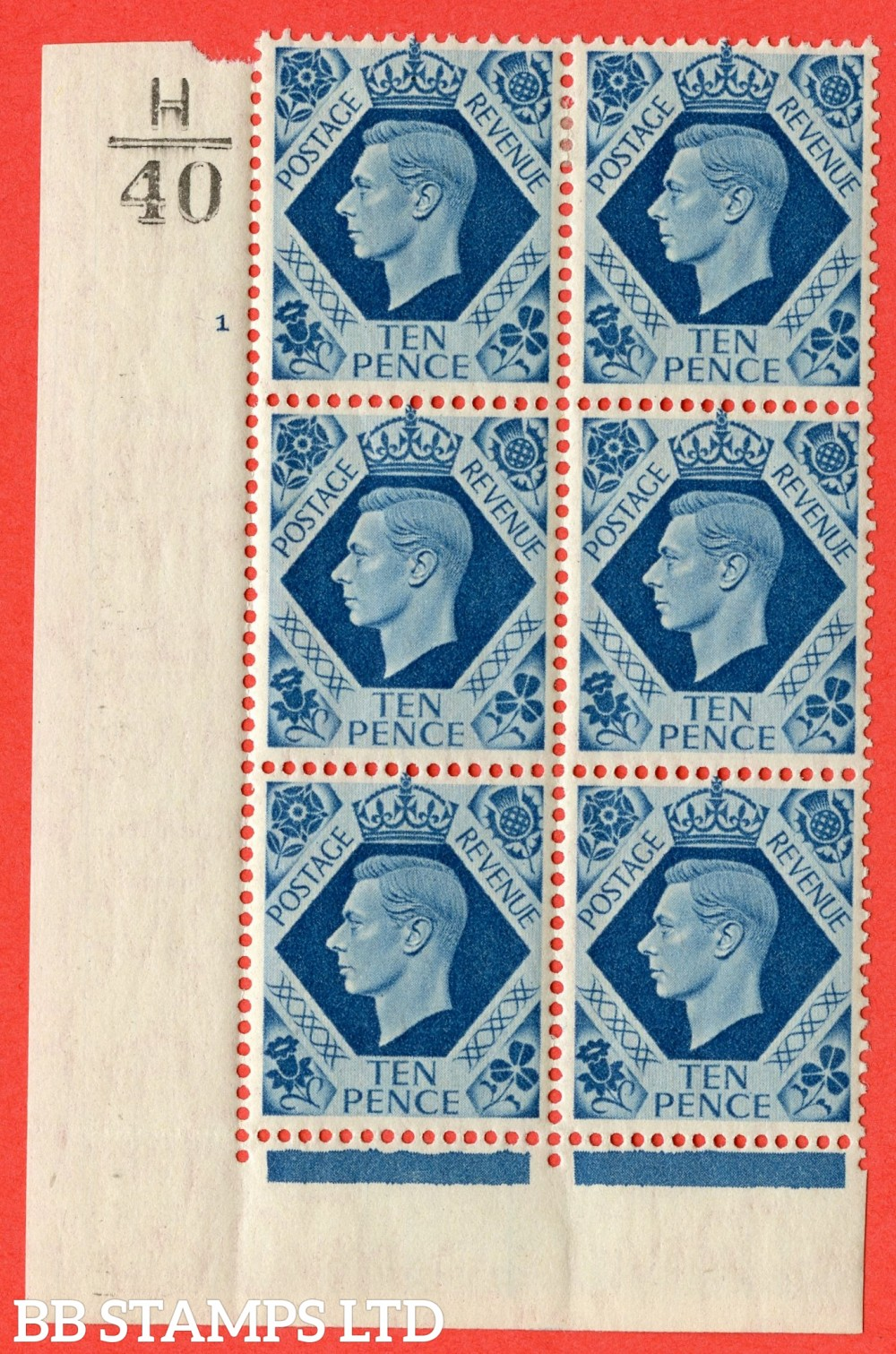 "SG. 474. Q26. 10d Turquoise-Blue. A fine lightly mounted mint "" Control H40 cylinder 1 no dot "" control block of 6 with perf type 2 I/E."