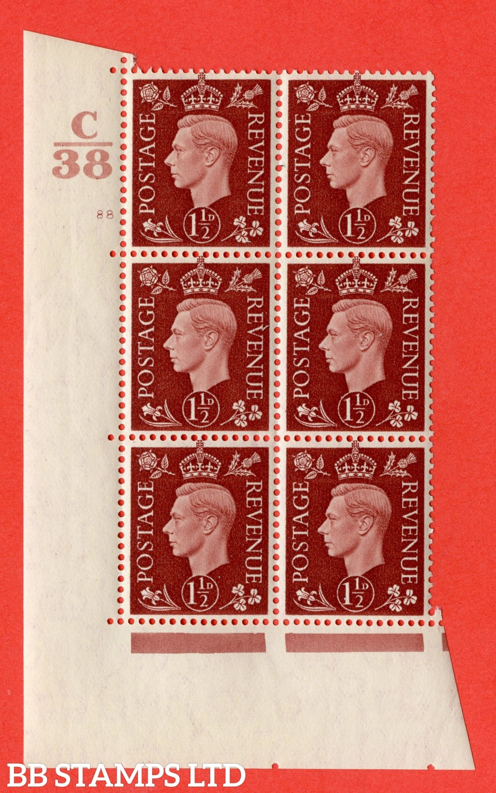"""SG. 464. Q7. 1½d Red-Brown. A superb UNMOUNTED MINT """" Control C38 cylinder 88 no dot """" block of 6 with perf type 5 E/I."""