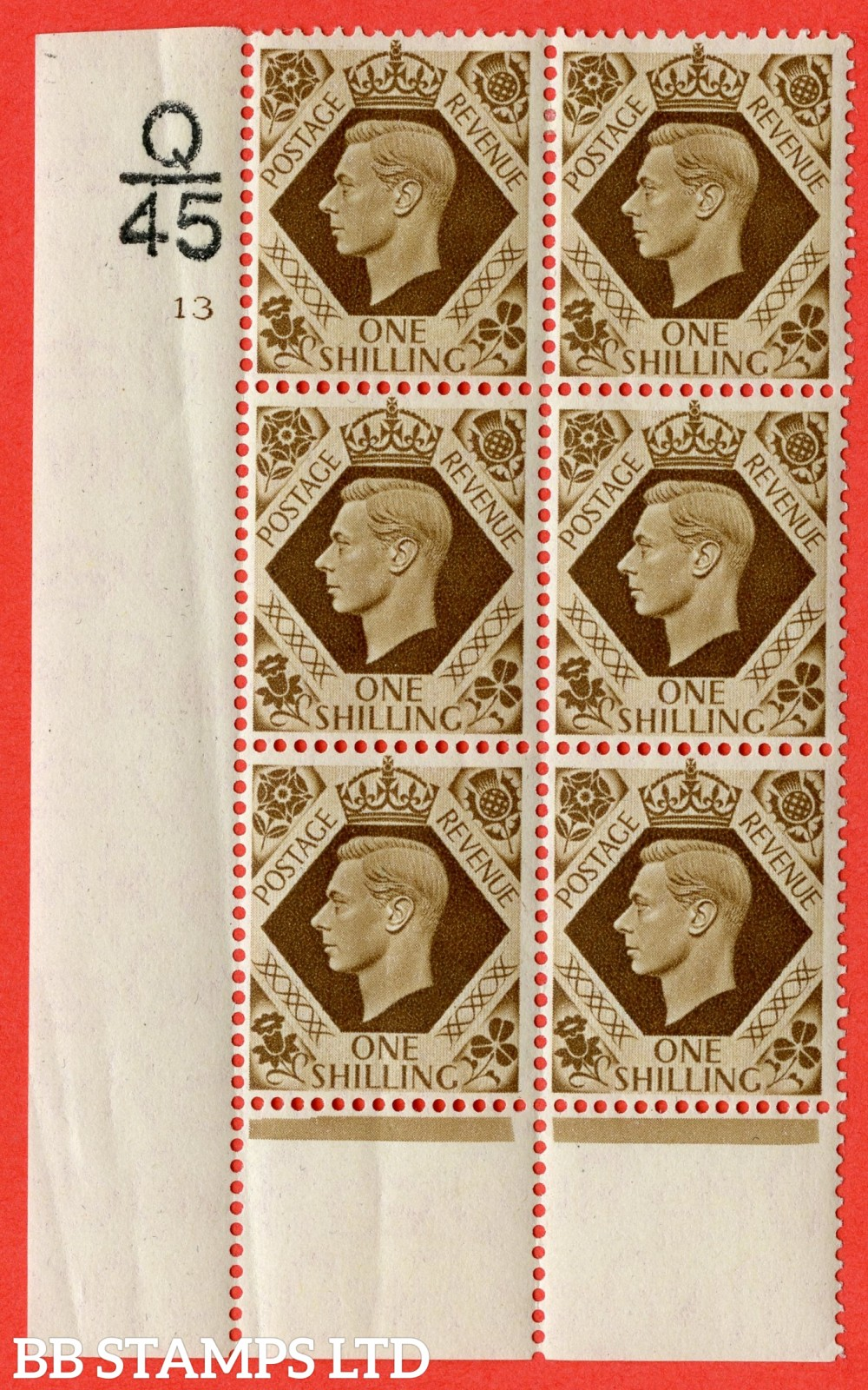 "SG. 475. Q28. 1/- Bistre-Brown. A fine lightly mounted mint "" Control  Q45 cylinder 13 no dot "" control block of 6 with perf type 6 I/P"
