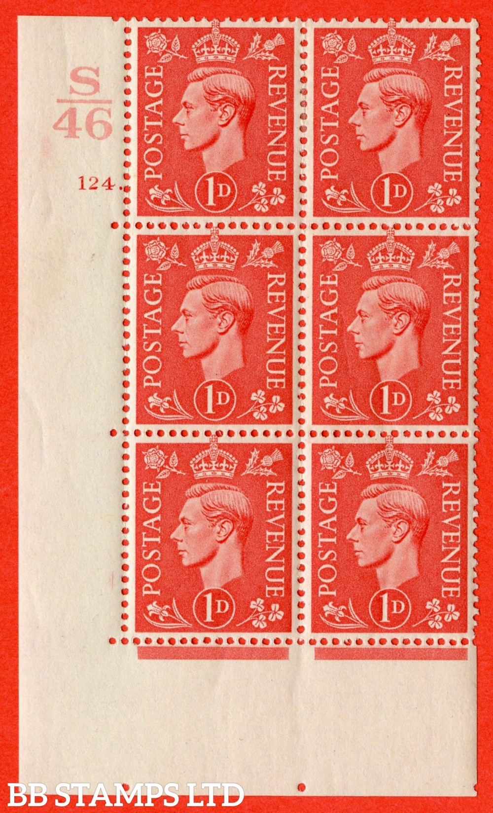 "SG. 486. Q5. 1d Pale scarlet. A fine lightly mounted mint "" Control S46  cylinder 124 dot "" control block of 6 with perf type 5 E/I."