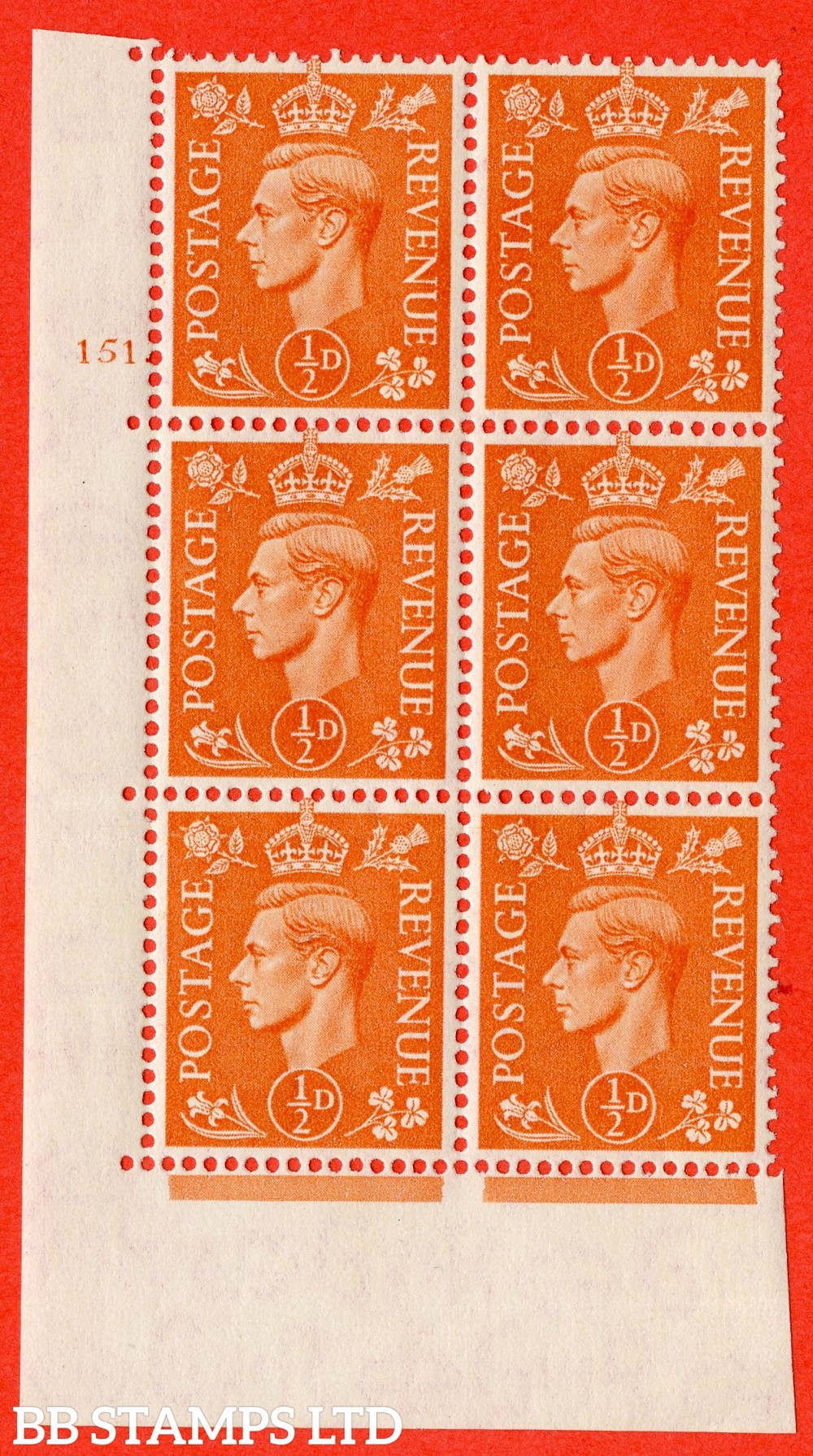 """SG. 503. Q3. ½d Pale Orange. A fine lightly mounted mint """" No Control cylinder 151 no dot """" control block of 6 with perf type 5 E/I."""
