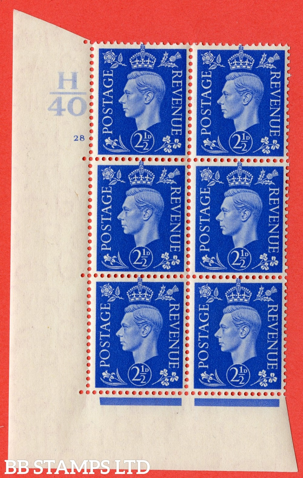 "SG. 466. Q13. 2½d Ultramarine. A superb UNMOUNTED MINT "" Control H40 cylinder 28 no dot "" control block of 6 with perf type 5 E/I."