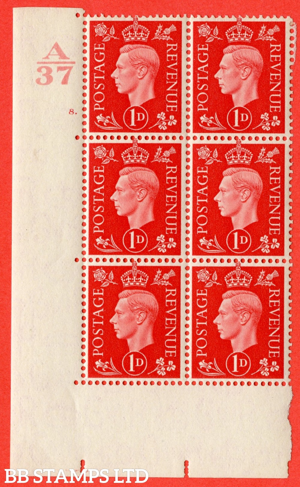 "SG. 463. Q4. 1d Scarlet. A superb UNMOUNTED MINT "" Control H40 cylinder 8 dot "" block of 6 with perf type 5 E/I with marginal rule."