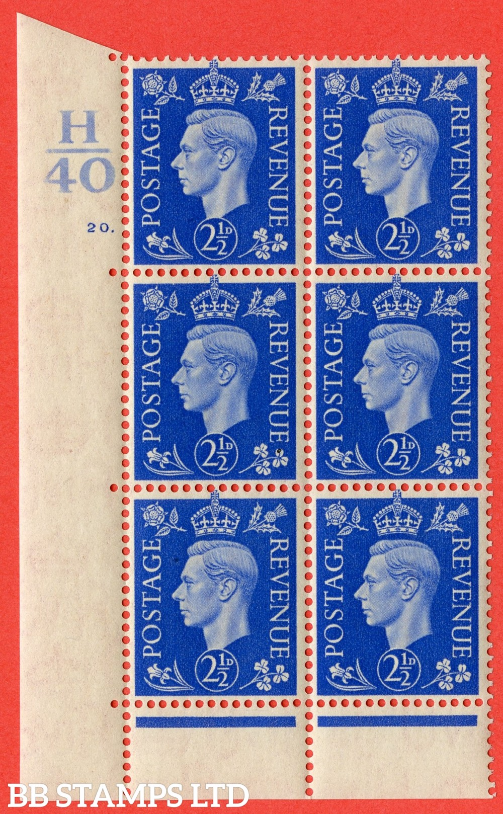"SG. 466. Q13. 2½d Ultramarine. A superb UNMOUNTED MINT "" Control H40 cylinder 20 dot "" control block of 6 with perf type 6B E/P"