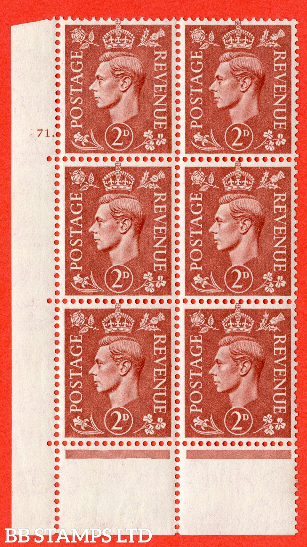 "SG. 506. Q12. 2d Pale Red-Brown. A fine lightly mounted mint "" No Control cylinder 71 dot "" control block of 6 with perf type 6B E/P."