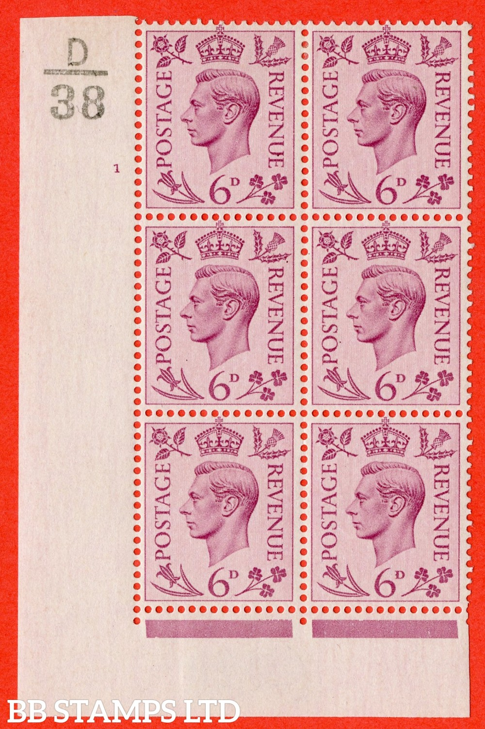"""SG. 470. Q22. 6d Purple. A fine lightly mounted mint """" Control D38 cylinder 1 no dot """" control block of 6 with perf type 2 E/I"""