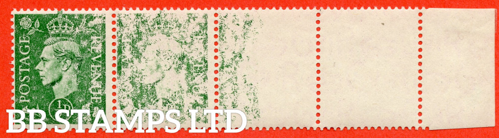 SG. 485. Q2. ½d Pale Green. A very fine UNMOUNTED MINT right hand marginal horizontal strip of 4 with a SUPERB progressive DRY PRINT ERROR.
