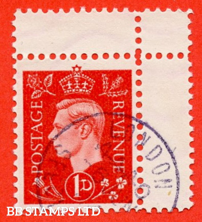 """SG. 463. 1d Scarlet. """" GERMAN PROPAGANDA FORGERY """". A fine used example of this famous wartime forgery produced at the Sachsenhausen Concentration Camp."""