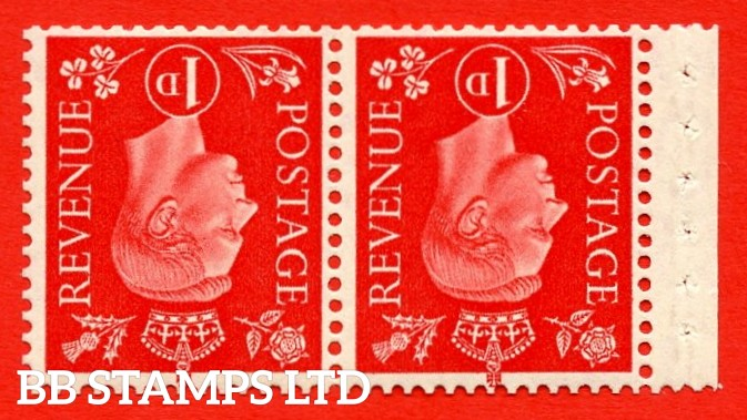 SG. 463 cw. QB12 a. 1d Scarlet. INVERTED WATERMARK. A fine UNMOUNTED MINT booklet pane of 2. Perf type P. Good Perfs.